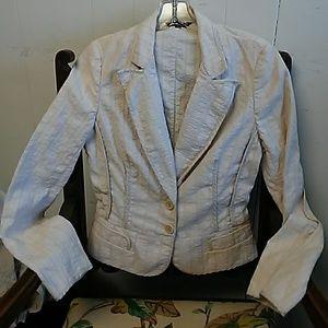 Tara Jarmon peplum jacket Sz 38 Cotton Linen blend